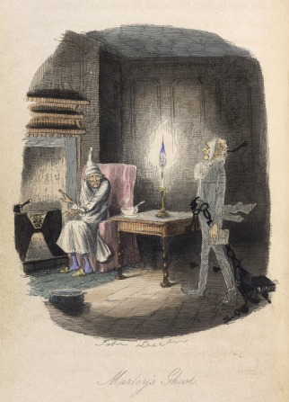 Illustration from A Christmas Carol, showing Scrooge sitting by the fire in his nightshirt and cap, with Marley's chained ghost standing beside him.