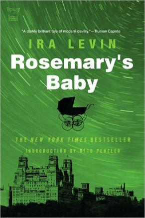 Book Cover: Rosemary's Baby by Ira Levin. A green background with a star-swirled Manhattan skyline and the black silhouette of a baby carriage.